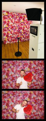 Hintergrundmotivstoff Blumenwand Rot-Pink